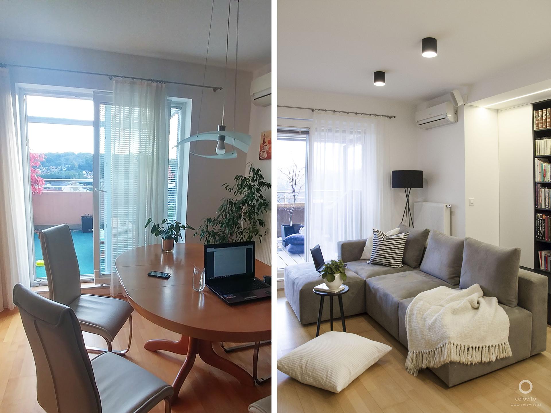 Dnevni prostor pred in po prenovo